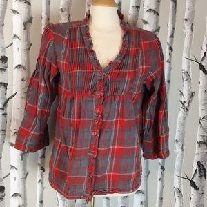 Sundance 3/4Sleeve plaid fleece button up shirt